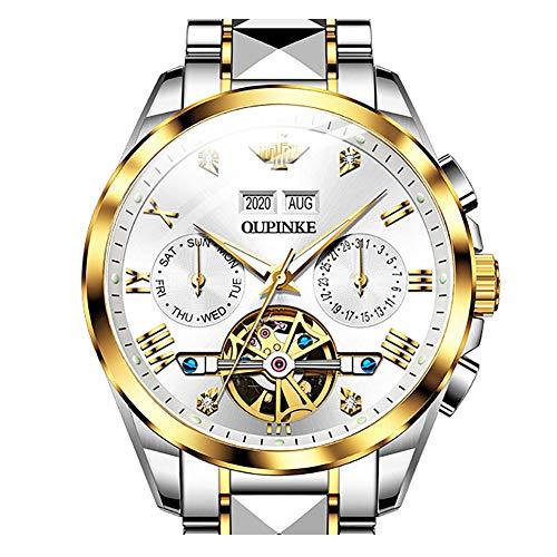 Reloj automático para hombre con cuerda automática Tourbillon para negocios mecánicos impermeables y luminosos de cristal de zafiro, Reloj de lujo: blanco.