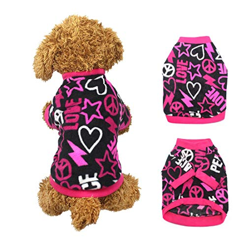 Idepet Pet Dog Cat Clothes Graffiti Style Soft Fleece Sweater Shirt Coat para Perros pequeños Puppy Teddy Chihuahua Poodle Boys Girls (M)