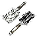 LYYDAN Cepillo para desenredar el cabello, 2 unidades, cerdas de jabalí para hombre, sin tirones, con mango antideslizante, para pelo largo y fino