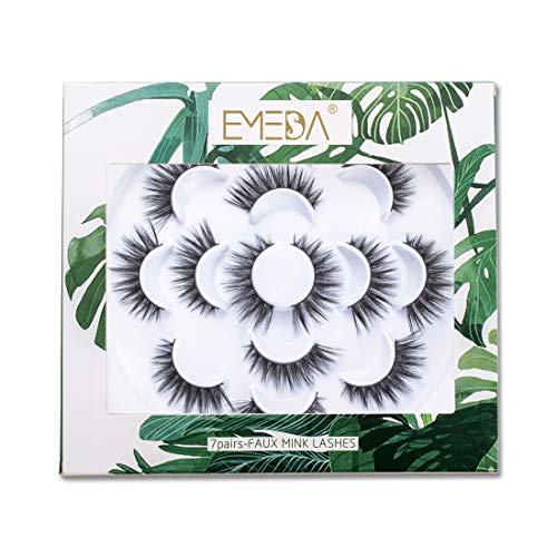 EMEDA 7 pares de pestañas naturales de visón sintético 3D con aplicador de pinzas, pestañas largas y gruesas hechas a mano para maquillaje de ojos, Pestañas postizas 5D (031)