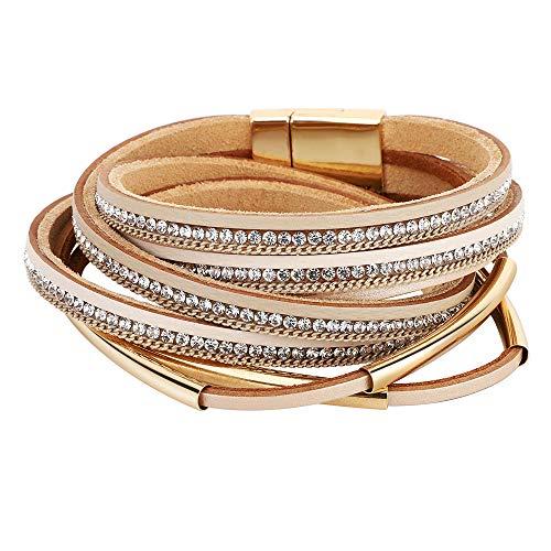 Emibele Layered Leather Bracelet, Bohemian Style Multilayer Wrap Bracelet with Metal and Diamond for Women Ladies Adult - Khaki
