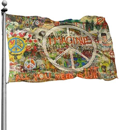 YANXIE Gartenfahne Flagge/Fahne Schöne Flagge für Graffiti-Wand im Freien mit Friedenszeichen Yard Flags Durable Polyester