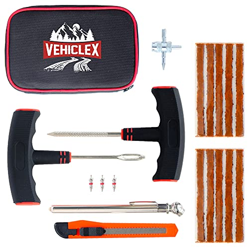 Vehiclex Compact Tire Repair Kit, Main Robust Tools & Supplies for Flat Tire Punctures Repair