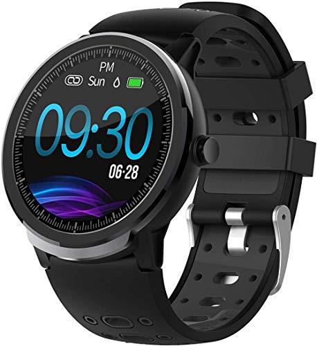 Smartwatch Fitness Uhr Damen Herren Schrittzähler Uhren Sportuhren Tracker Android IOS Fitness Armband Uhr mit Blutdruckmessung Laufuhren Wasserdicht Schwarz