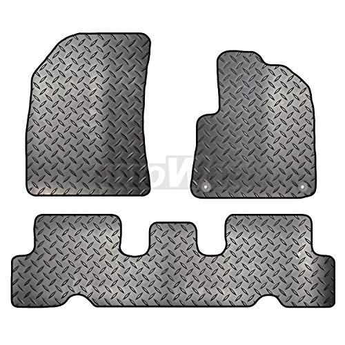 Carsio ZCUT-3523-(85 x 2) - Juego de Alfombrillas de Goma para Coche (2 Clips para Adaptarse a Citroen C4 Picasso 2013 a 2018), Color Negro