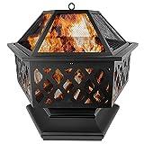HENGMEI Brasero Exterior para Jardín y Terraza 70X60cm Pozo de fuego Estufa de Leña Chimeneas de Leña para Terraza
