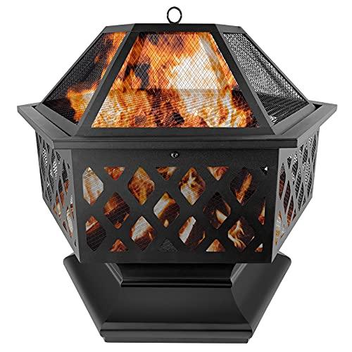 NAIZY Feuerschale mit Funkenschutz & Grillrost, Ø70cm Sechskant Multifunctional Fire Pit for Heizung BBQ Grill Schürhaken & Kohlerost für Garten Terrasse Feuerschale