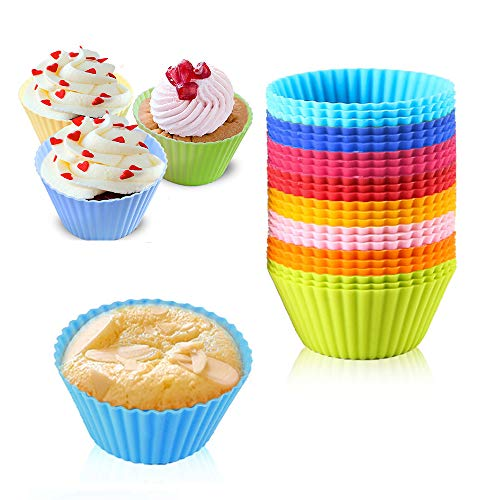 Silicone Baking Cups Cupcake Liners, VONYDA 24 Pcs Silicone Muffin Cups Reusable Rainbow Cupcake Wrappers Holders for Candies, 8 Vibrant Colors