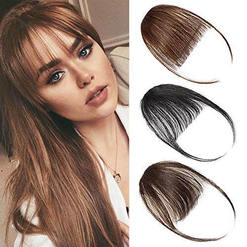 Clip in Bangs Hair Extensions Front Bangs Extensions Hair Clip on Bangs Dark Brown Thin Hair Bangs Clip in Hairpieces for Women