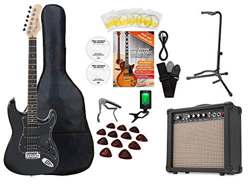 Set de guitarra eléctrica Rocktile Super Kit Black con muchos accesorios