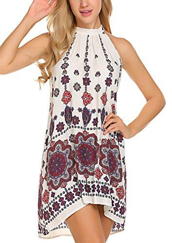 BLUETIME Women's Casual Sleeveless Halter Neck Boho Print Short Dress Sundress (M,...