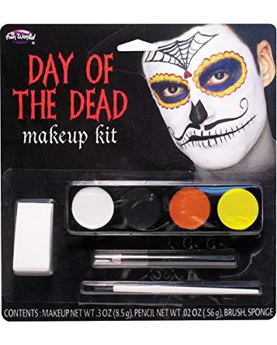 Horror-Shop Day of The Dead Mustache Man Make-up bestehend aus Schminke, Kajal, Schwamm und Pinsel