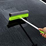 2-in-1 Car Window Squeegee, XINDELL Windshield Cleaning Tool Silicon Windows Glass Wiper Washing Brush with Handle, Scrubber Sponge Washing Window Squeegee for Scrubbing and Polishing Windows, Glass, Door, Car Windshield