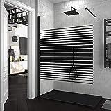 Mampara de ducha FIJA VAROBATH Negro - Vidrio 8MM Serigrafiado Vinilo FILA - Tratamiento antical INCLUIDO. 110x200cm.