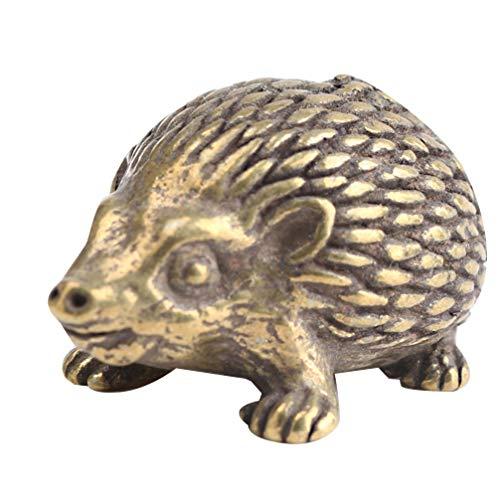 LIOOBO Figura Decorativa de Erizo de Metal, Figura de Erizo de latón, minifigura de Animal Vintage, colección de estatuas, Juguete para decoración del jardín de Hadas
