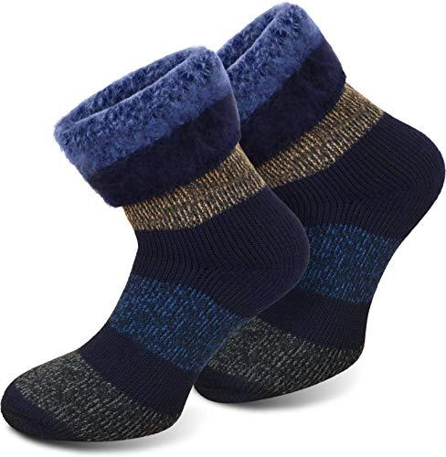 Polar Husky® 3 Paar Immer warme Thermosocken Schafwolle Farbe Extrem/Hot/Blau-Block gestreift Größe 39/42