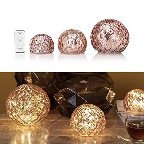 3er Set Glaskugeln mit LED Lichterkette inkl. Timer und Ferbedienung - In und Outdoor geeignet - Deko Kugeln in Bruchglasoptik - LED Beleuchtung (Rosé)