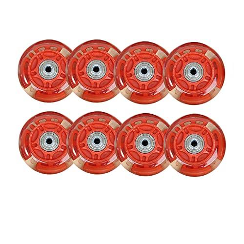 SSCYHT Paquete 8 Ruedas Patines en línea con Luces LED PU para Patinaje en línea Asfalto o Hockey sobre Ruedas para Exteriores/Interiores, Ruedas Repuesto para Patines, con rodamientos,Rojo,72mm