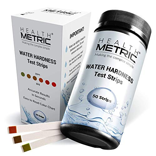 Pro water hardness test kit - quick and easy hard water test strips for water softener dishwasher well spa and pool water | 50 tester strips at 0-425 ppm | calcium and magnesium total hardness