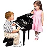 Kids Electronic Grand Piano Musical Instrument Keyboard Organ Toy Microphone & Stool (Black)