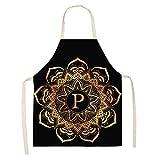 ZHAOXIANGXIANG Delantal De Cocina,Cocina Y Delantal De Cocina Creativa Mandala Patrón Oro Letra P...