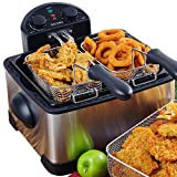 Secura 1700-Watt Stainless-Steel Triple Basket Electric Deep Fryer with Timer Free Extra Odor Filter,...