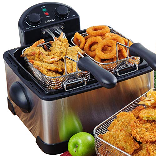 Secura 1700-Watt Stainless-Steel Triple Basket Electric Deep Fryer with Timer Free Extra Odor Filter, 4L/17-Cup image