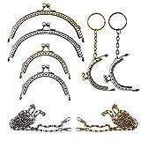Nsiwem 6 piezas Boquillas monederos metalicas Cierre de boquilla para bolso Carteras Cierre Metal Semicircular marco beso cierre cerradura y 2 pcs Cadenas de Metal Correas de Hombro