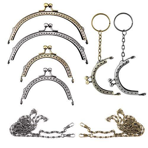 Nsiwem Taschenrahmen 6 Stücke Portemonnaie verschluss Geldbörse Rahmen Kuss Verschluss Taschenverschluss Verschluss halbkreisförmige und 2 pcs Metall Taschenkette für DIY Handtasche