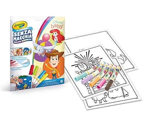 CRAYOLA- Coloring Color Wonder Lot de 18 Pages de coloriage et 5 feutres sans Taches Disney Baby, 75-2777
