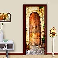 BOXIANGY PVC自己粘着ドアステッカーレトロストリートウッドドア3D引き戸壁紙リビングルーム寝室ホーム装飾ウォールステッカー