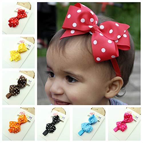 Frcolor Bébé Filles Bandeau Cheveux élastique bébés filles en mousseline Fleur Bandeau élastique(15 couleurs)
