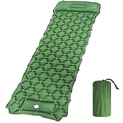 oaskys Camping Sleeping Pad Ultralight Backpacking Air Mattress with Inflatable Pillow & Compact Carrying Bag Sleeping Pads for Hiking Traveling & Camping Outdoor Activities, Durable & Waterproof