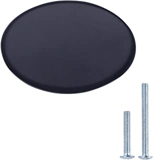 AmazonBasics - Pomo de armario redondo y plano 366 cm de diámetro negro liso - paquete de 25