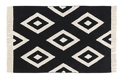 Lorena Canals Diamonds Lavable Tapis, Coton, Noir, 140 x 200 x 30 cm