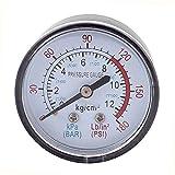 0-180 psi Aire Manometro - SODIAL(R)Redondo 0-180 psi 13mm 1/4BSP Diametro Del Hilo Reloj comparador Aire Manometro, Negro