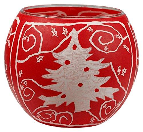 Himmlische Düfte Geschenkartikel GmbH White RED Christmas Tree Windlicht, Glas, bunt, 11x11x9 cm