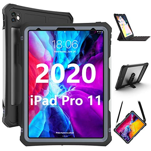 iPad Pro 11 Case 2020, iPad Pro 11 Inch Waterproof Protective Dirtproof Shockproof Case Cover with 360 Full-Body Protection, New Apple iPad Pro 11 case with Lanyard and Kickstand
