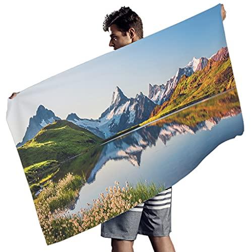 Lolyze Toalla de playa rectangular compacta, toalla de playa de microfibra, toalla de playa, manta de picnic, alfombra de pared, esterilla de yoga para dos personas, color blanco, 150 x 75 cm