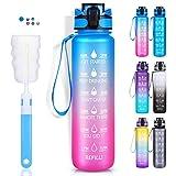 LEHOM Sport-Trinkflasche, 1000 ml, motivierende Wasserflasche mit Zeitmarkierungen, BPA-frei, Pink/Blau