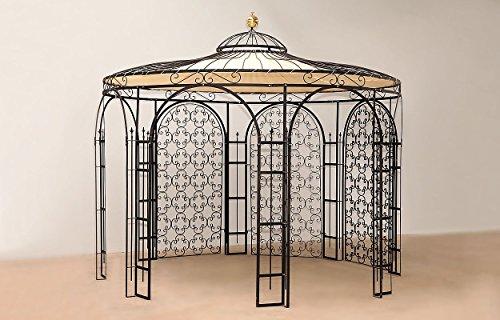 Eisenpavillon für den Garten. In massiver Fertigung, Ausführung duplexbeschichtet anthrazit mit Sonnensegel und 3 Rankgittern. Der Durchmesser beträgt 3,7 Meter.