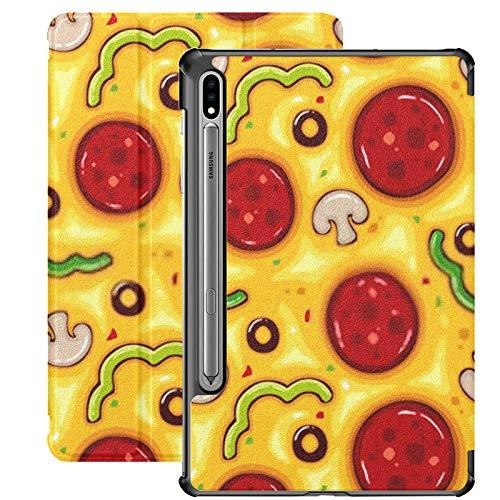Funda para Galaxy Tab S7 Funda Delgada y Liviana con Soporte para Tableta Samsung Galaxy Tab S7 de 11 Pulgadas Sm-t870 Sm-t875 Sm-t878 2020 Versión, ilustración Vectorial Patrón sin Costuras Pizza