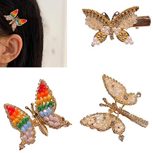 Abcidubxc Pince À Cheveux Femme Strass,épingle À Cheveux Papillon,Perles Incrustées,Outils De Décoration Féminine