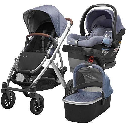Review 2018 UPPABaby Vista Stroller - Henry (Blue Marl/Silver/Saddle Leather) + MESA- Henry (Blue Ma...