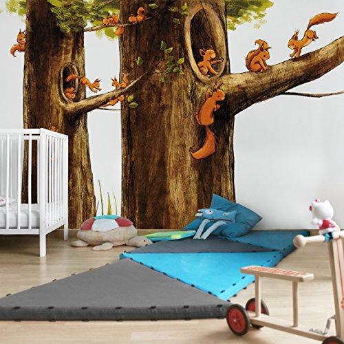 Apalis Kindertapeten Vliestapeten Zuhause der Einhörnchen Fototapete Breit   Vlies Tapete Wandtapete Wandbild Foto 3D Fototapete für Schlafzimmer Wohnzimmer Küche   braun, 95052