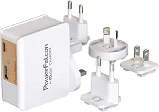 PowerFalcon Dual USB (45W USB-C PD + 12W USB-A) Charger with 4 Interchangeable AC Plugs