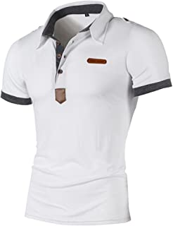 ed6af38a65 Solike Polo Homme Été T-Shirt Tops Slim en Col V avec Boutons Manches  Courtes