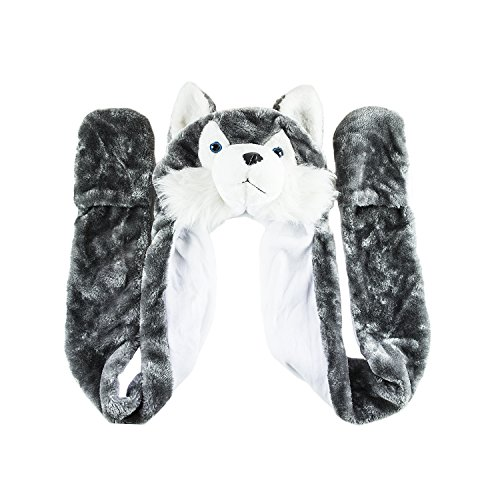 Husky Timber Wolf Cute Plush Animal Winter Hat Warm Winter Fashion (Long) (Gray)