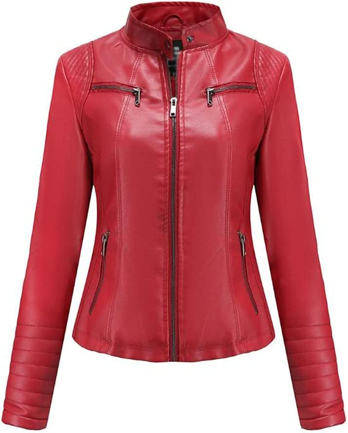 SLATIOM Leather Jacket Women's Leather Spring and Autumn Jackets Ladies Motorcycle Large Size Stand Collar Leather Jacket Jacket Female (Color : Red, Size : 3XL Code)