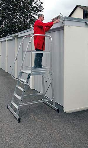 Aluminium-Podest-Treppe fahrbar 5 Stufen - 303105